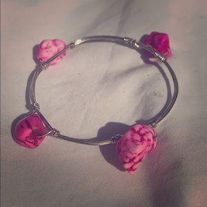 Guitar string pink stone bracelet 😍